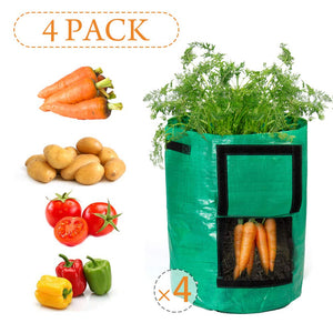 Garden Potato Grow Bag, 4Pack10Gallon Grow Bags with Access Flap and Handles for Harvesting Potato, Carrot, Onion, tomata,Vegetable and Flower.