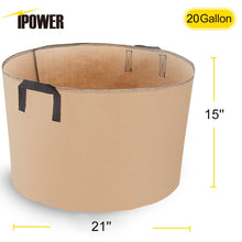 Load image into Gallery viewer, iPower 20-Gallon 5-Pack Grow Bags Fabric Aeration Pots Container with Strap Handles for Nursery Garden and Planting(Tan)