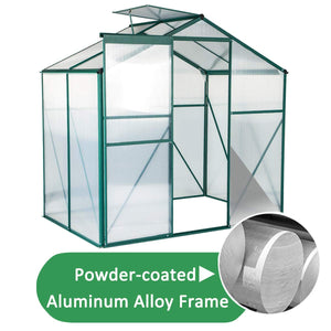 Mellcom 4'(L) x 6'(W) x 6.6'(H) Polycarbonate Portable Walk-in Garden Greenhouse Large Hot House with Adjustable Roof Vent and Rain Gutters,UV Protection Planting House