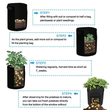 Load image into Gallery viewer, GEMGO 3 Pack Potato Grow Bag, 7 Gallon Aeration Waterproof Fabric Sweet Potato Planter, Velcro Window Vegetable Peanut Growing Box Bucket Pot for Nursery Garden (3 Pack, Black Brown Green)