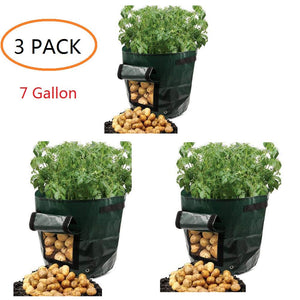 Potato Grow Bags 7 Gallon Garden Vegetables Planter Bags with Handles and Access Flap for Planting Potato Carrot Onion Taro Radish Peanut,3-Pack,(7 Gallon)