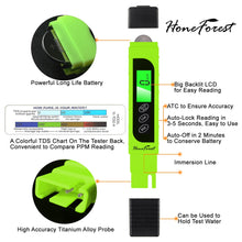 Load image into Gallery viewer, Digital TDS-Meter, Accurate and Reliable, HoneForest TDS, EC & Temp Meter 3 in 1, 0-9990ppm, Ideal Water-Tester-PPM-Meter(Green)