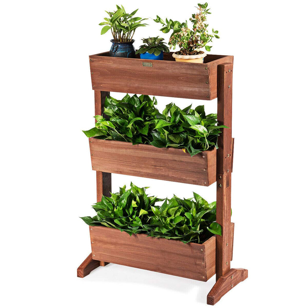 Giantex 3 Tier Raised Garden Bed Vertical Freestanding Wooden Flower Rack with Detachable Ladder and Adjustable Shelf,Classification Storage Box Shelf for Indoor Outdoor Flower Stand (Nut-Brown)