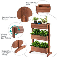 Load image into Gallery viewer, Giantex 3 Tier Raised Garden Bed Vertical Freestanding Wooden Flower Rack with Detachable Ladder and Adjustable Shelf,Classification Storage Box Shelf for Indoor Outdoor Flower Stand (Nut-Brown)