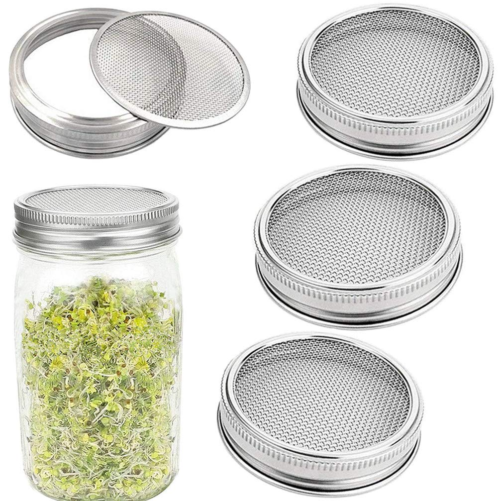4 Pack Sprouting Lids Stainless Steel - Mesh Jar Sprouting Strainer Lid Kit for Wide Mouth Mason Jars Canning Jars, Sprouting Jar Lid Kit for Growing Organic Sprout Seeds in House/Kitchen
