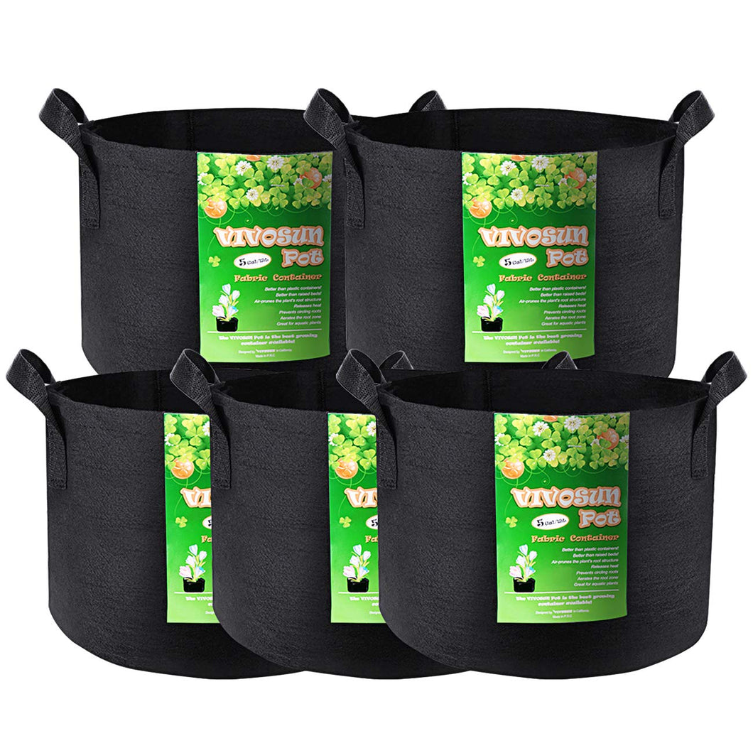 5-Pack 5 Gallon Grow Bags Heavy Duty 300G Thickened Nonwoven Plant Fabric Pots with Handles