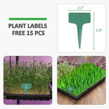 Load image into Gallery viewer, GROWNEER 6 Packs 21 x 11 x 2.4 Inches Plastic Growing Trays with 15 Pcs Plant Labels, Seed Tray Seedling Starter for Greenhouse, Hydroponics, Seedlings, Plant Germination