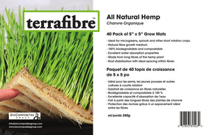 "Hemp Grow Mat - Perfect for Microgreens, Wheatgrass, Sprouts - 40 Pack 5"" x 5"" (Fits 5"" by 5"" Growing Tray or 8 in a Standard 10"" X 20"" Germination Tray) Fully Biodegradable"