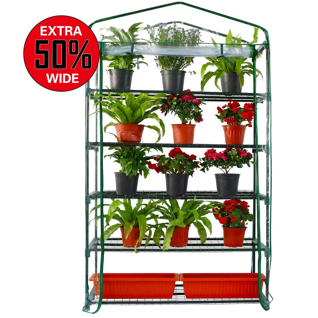 Extra Wide 5 Tier Mini Greenhouse 75'' High x 40'' Long x 19'' Wide, Portable Plant Tower Indoor or Outdoor Plant & Wheatgrass Growing Stand