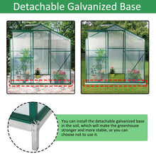 Load image into Gallery viewer, Mellcom 4'(L) x 6'(W) x 6.6'(H) Polycarbonate Portable Walk-in Garden Greenhouse Large Hot House with Adjustable Roof Vent and Rain Gutters,UV Protection Planting House