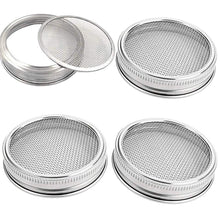 Load image into Gallery viewer, 4 Pack Sprouting Lids Stainless Steel - Mesh Jar Sprouting Strainer Lid Kit for Wide Mouth Mason Jars Canning Jars, Sprouting Jar Lid Kit for Growing Organic Sprout Seeds in House/Kitchen