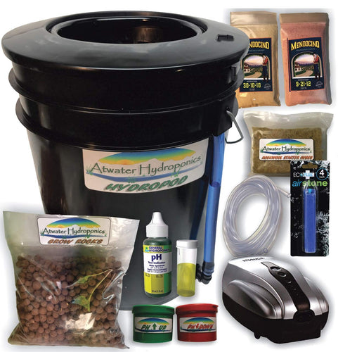 The HydroPod - Standard A/C Powered DWC Deep Water Culture/Recirculating Drip Hydroponic Garden System Kit - Bubble Bucket - Bubbleponics - Grow Your Own! Start Today!