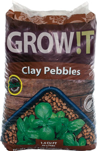 GROW!T GROWT GMC40l, 4mm-16mm, Clay Pebbles, 40 Liter Bag, Brown
