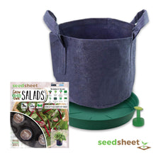 Load image into Gallery viewer, Home Garden Seeds - Seedsheet Grow Your Own Organic Gardening Pods - Eco Friendly Homemade Ingredients with Fabric Container - Partial Kit (Salad)