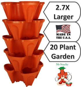 LARGE Vertical Gardening Stackable Planters by Mr. Stacky - Grow More Using Limited Space And Minimum Effort - Plant. Stack. Enjoy. - Build Your Own Backyard Vertical Garden - DIY Stacking Container System - For Growing Strawberry, Tomato, Pepper, Cucumbe