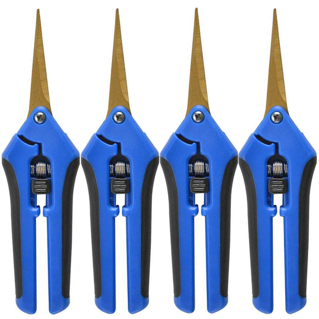 Gardening Trim Scissors Hand Pruner Pruning Snips with Titanium Coated Curved Stainless Steel Blades for Hydroponic, Garden, and Bonsai (4 Pack, Blue)