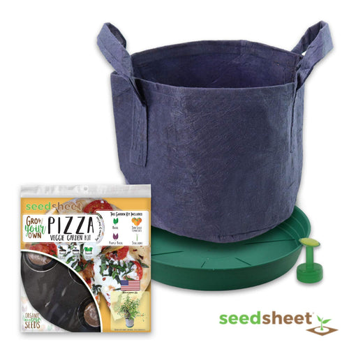 Grow Your Own Pizza Container Garden, Organic Seed Pods, Basil, Sun Gold Tomato, Scallions, Partial Kit, As Seen on Shark Tank, 1.35 Pound