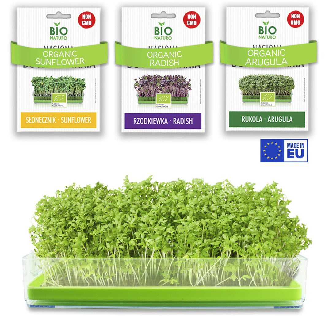 Microgreens Growing Kit Organic No Soil - BPA Free Sprouter Tray with Organic Non GMO Sprouting Seeds |Arugula Radish Sunflower| Indoor Planting | Home Garden | Healthy Microgreens Seeds Grow Kit