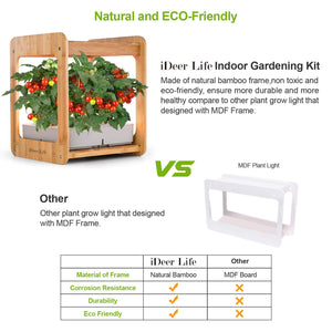 Indoor Gardening Kit Hydroponics Growing System Kit w/LED Plant Grow Light,Nature Bamboo Frame,Hydroponics Indoor Gardening Kit Herb Seed Pod Kit, Nutrients,Seeds Not Included -12 Plants,IDEER LIFE