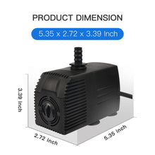 Load image into Gallery viewer, Simple Deluxe 400 GPH UL Listed Submersible Pump with 15' Cord, Water Pump for Fish Tank, Hydroponics, Aquaponics, Fountains, Ponds, Statuary, Aquariums & Inline