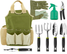Load image into Gallery viewer, Vremi 9 Piece Garden Tools Set - Gardening Tools with Garden Gloves and Garden Tote - Gardening Gifts Tool Set with Garden Trowel Pruners and More - Vegetable Herb Garden Hand Tools with Storage Tote