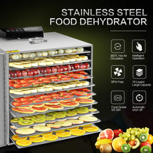 Load image into Gallery viewer, Commercial Stainless Steel Food Dehydrator-Raw Food & Jerky Fruit Dehydrator-1000W Preserve Food Nutrition Professional Household Vegetable Dryer,with 0~24 Hours Digital Timer (10 Trays)