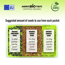 Load image into Gallery viewer, Microgreens Growing Kit Organic No Soil - BPA Free Sprouter Tray with Organic Non GMO Sprouting Seeds |Arugula Radish Sunflower| Indoor Planting | Home Garden | Healthy Microgreens Seeds Grow Kit