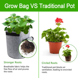 Potato Smart Bags - 2 Pack, 7 Gallon Velcro Window Vegetable Bags, Double Layer Premium Breathable Nonwoven Cloth for Potato/Aeration Fabric Pots with Handles(Gray)