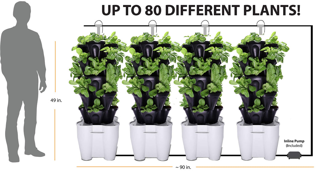 4 Tower Garden System (recirculating) (Black)