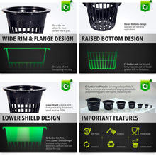 Load image into Gallery viewer, 3 inch Net Pots Super Heavy Duty Cups Wide Lip Design - Orchids • Aquaponics• Hydroponics Slotted Mesh (3 inch Cz All Star Net Pots - 25 Black)