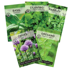 Load image into Gallery viewer, Sow Right Seeds - Herb Garden Seed Collection - Basil, Chives, Cilantro, Parsley, and Oregano Seeds for Planting; 5 Individual Packets