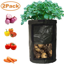 Load image into Gallery viewer, 2-Pack Black 10 Gallon Garden Grow Bags Durable Plant Growing Bags Outdoor/Indoor Vegetables Bags with Handle Access Flap Waterproof Container Bags (2-Pack/Black)
