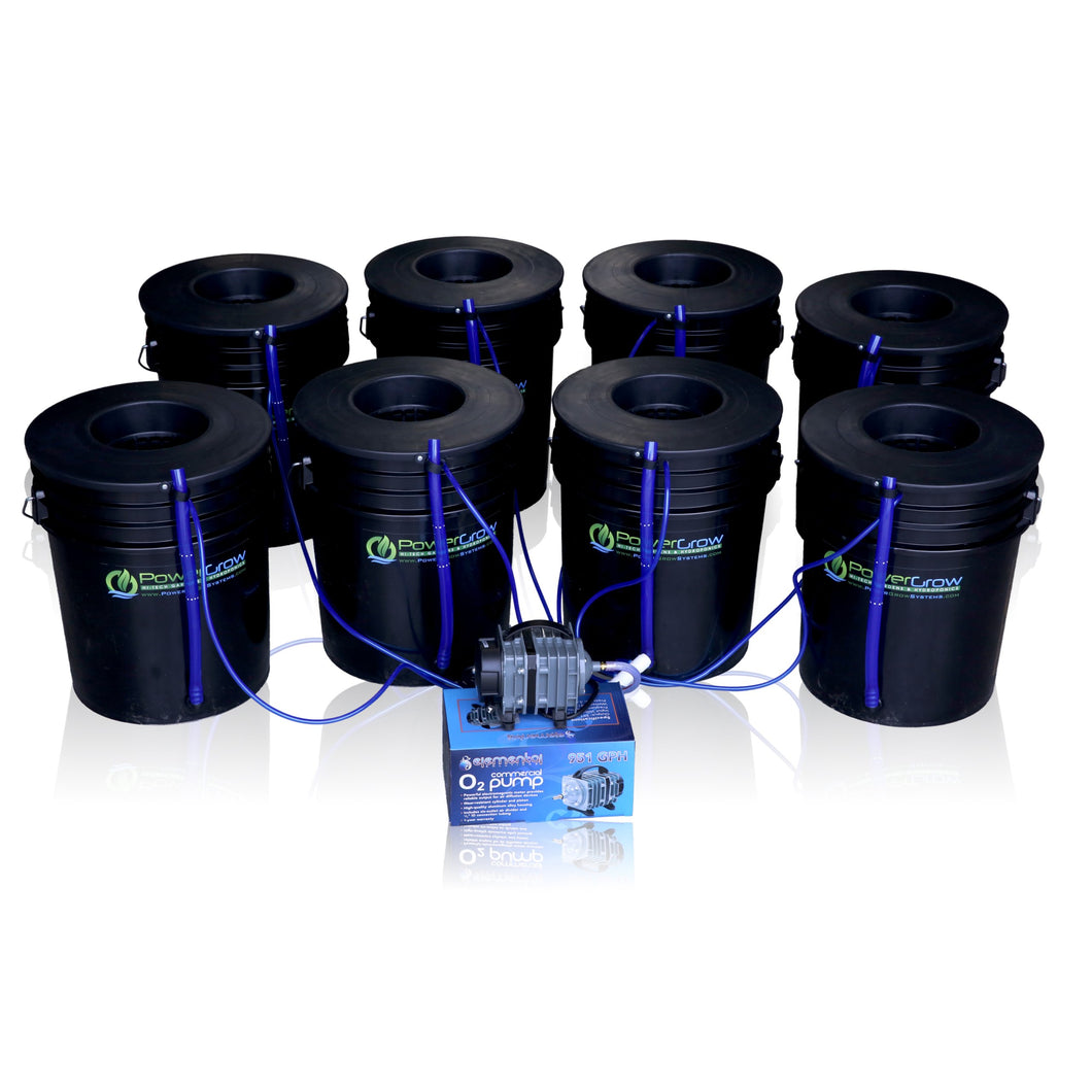 Deep Water Culture (DWC) Hydroponic Bubbler 8 Bucket Kit with 6