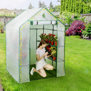 Greenhouse with PVC Cover and 8 Sturdy Shelves,Thicken Tube,Stable Walk-in Green House for Gardening Flowerpot Indoor Outdoor Use ( 77x56x56 inch)