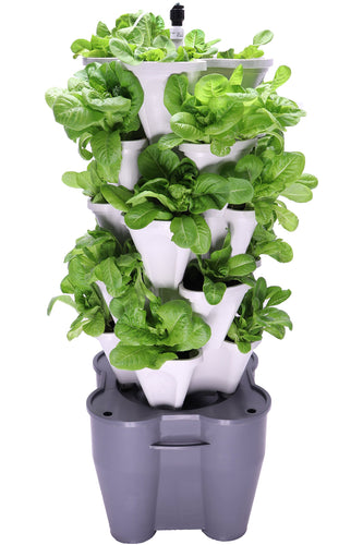 Mr. Stacky Smart Farm - Automatic Self Watering Garden - Grow Fresh Healthy Food Virtually Anywhere Year Round - Soil or Hydroponic Vertical Tower Gardening System (Standard Kit, Stone)