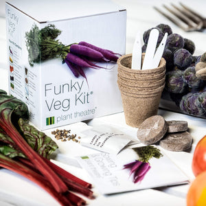 Plant Theatre Funky Veg KIT Gift Box - 5 Extraordinary Vegetables to Grow -Everything You Need to Start Growing in one Box! Super Grow Kit Gift