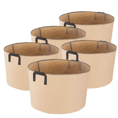 iPower 20-Gallon 5-Pack Grow Bags Fabric Aeration Pots Container with Strap Handles for Nursery Garden and Planting(Tan)