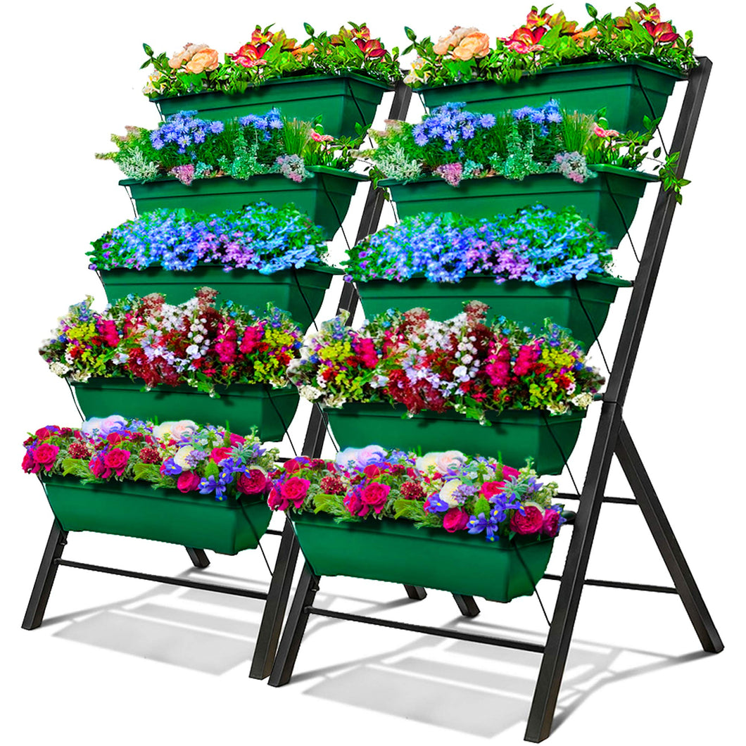 4-Ft Raised Garden Bed - Vertical Garden Freestanding Elevated Planters 5 Container Boxes - Good for Patio Balcony Indoor Outdoor - Cascading Water Drainage to Grow Vegetables Herbs Flowers (2-Pack)
