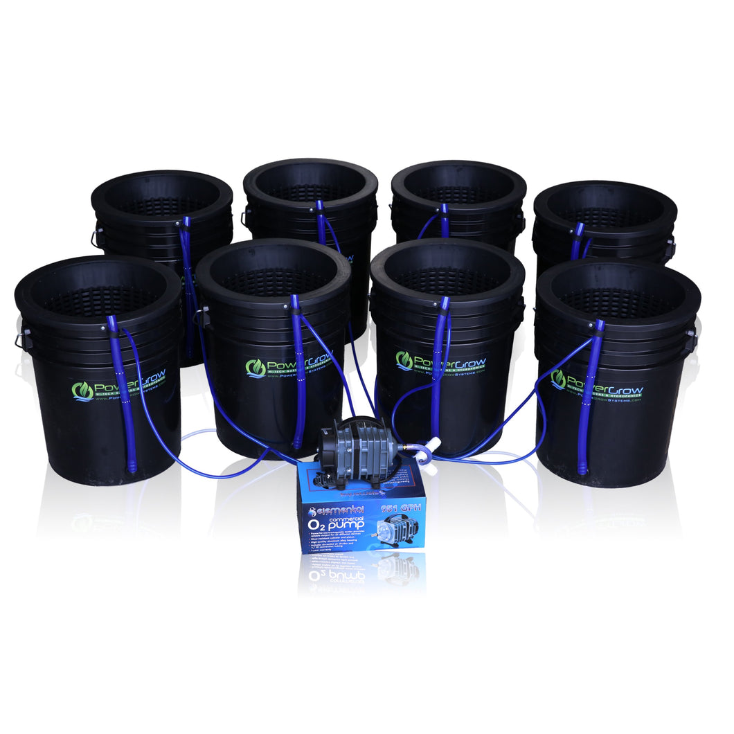 Deep Water Culture (DWC) Hydroponic Bubbler 8 Bucket Kit with 10