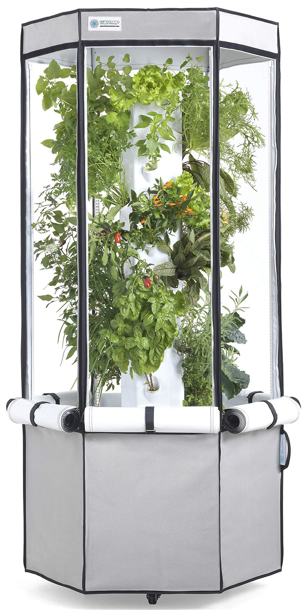 Vertical Hydroponic Grow Kit: Tower, Tent, LEDs, and Fan - Aerospring Indoor Herb & Vegetable Garden - 27 Plant Grow System - Grey
