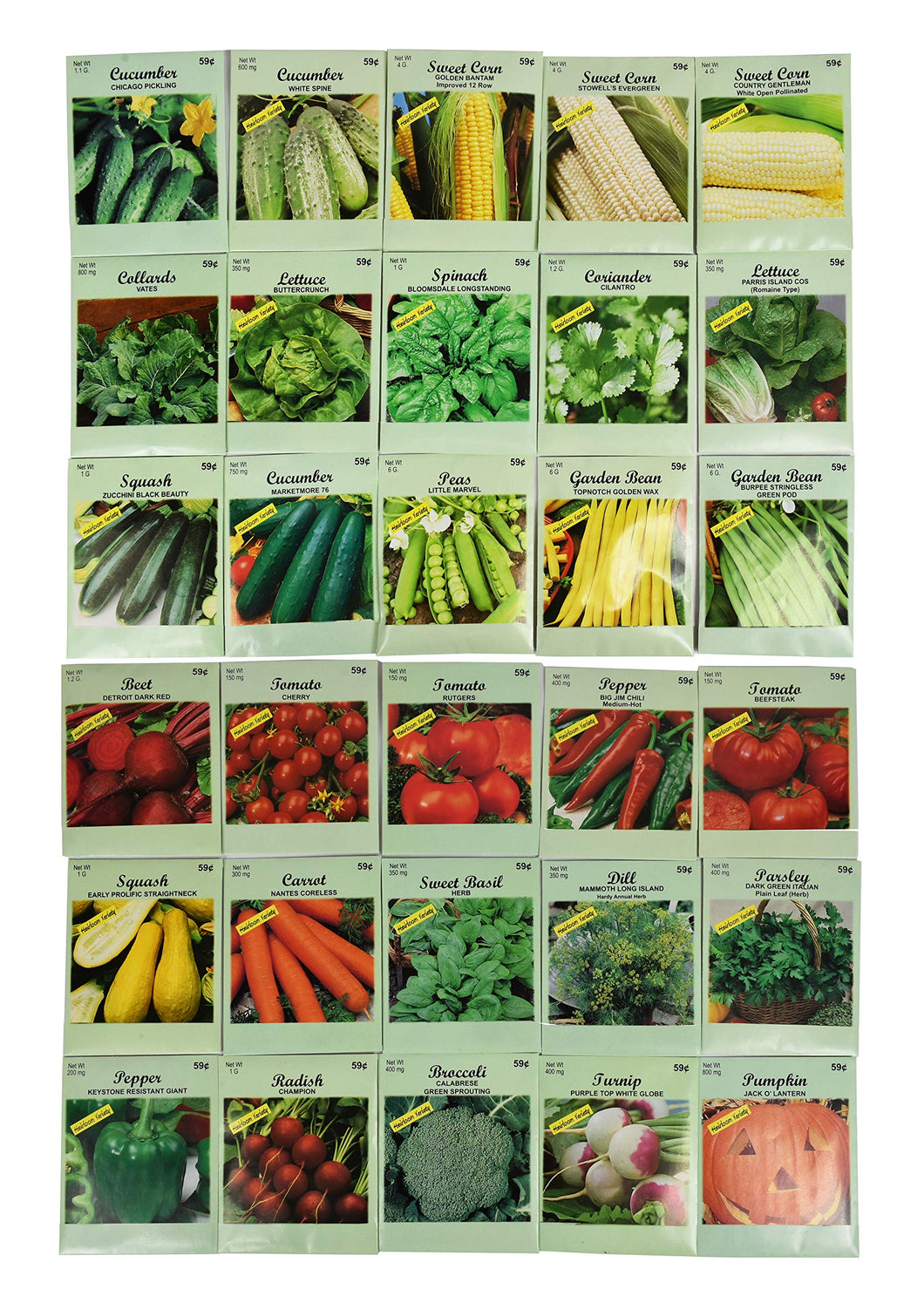 Set of 30 Pack Vegetable Seeds! 30 Varieties! Create a Deluxe Garden! All Seeds are Heirloom, 100% Non-GMO! by Black Duck Brand 30 Different Varieties