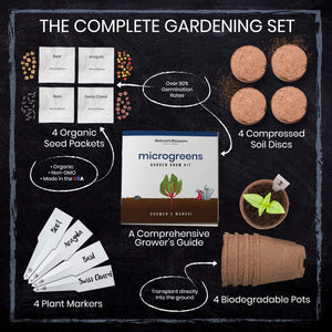 Nature's Blossom Microgreen Vegetables Sprouting Kit. Beginner Gardeners Seed Starter Kit to Grow 4 Types of Vegetable Sprouts Indoors. Complete DIY Home Gardening Set