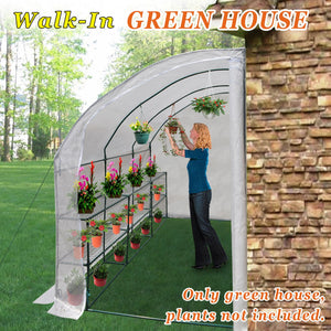 Strong Camel Walk-in Greenhouse Large Outdoor Portable Green House 3 Tiers 6 Shelves Gardening, 10x5x7'H (White)