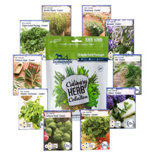 Load image into Gallery viewer, 10 Variety Culinary Herb Collection and 96 Page Growing Guide - Non GMO Heirloom Basil, Thyme, Rosemary, Oregano, Parsley, Lavender, Sage, Cilantro, Chives, Dill