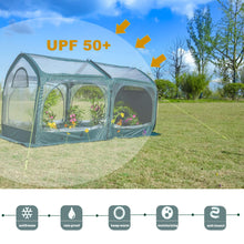 Load image into Gallery viewer, UPF 50+ Pop up Greenhouse,Cold-Treated Clear PVC and Durable 600D Oxford Flower House for Plants,Outdoor Portable Greenhouses with 4 Zipper Doors Backyard Warm House