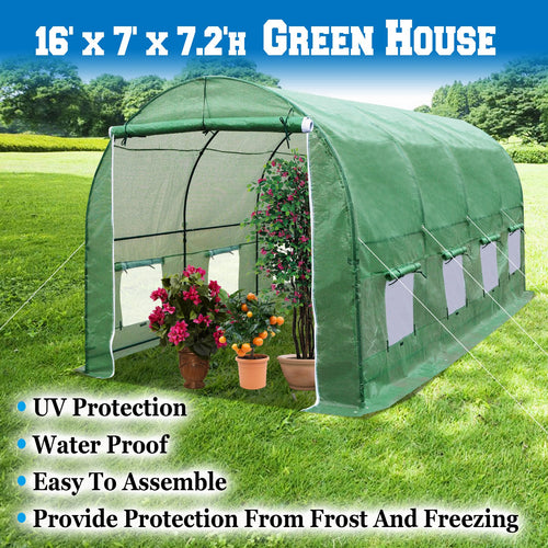 BenefitUSA Hot Green House 16'x7'x7'H Larger Walk in Outdoor Plant Gardening Greenhouse