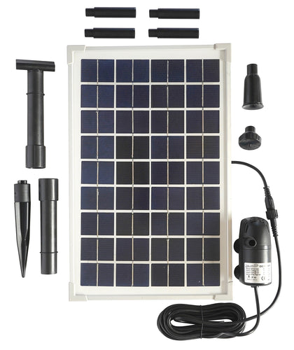Solar Water Pump Kit - 160+GPH - Submersible Water Pump and 10 Watt Solar Panel for Sun Powered Fountain, Waterfall, Pond Aeration, Aquarium, Aquaculture (NO Battery Backup)