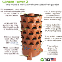 Load image into Gallery viewer, Garden Grow Tower 2 Terra Cotta With Premium Caster Wheels Combo Kit