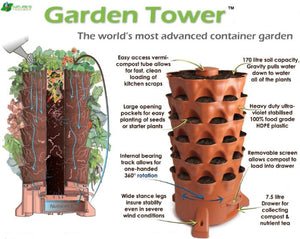 Garden Grow Tower 2 New Sandstone Color With Premium Caster Wheels Combo Kit
