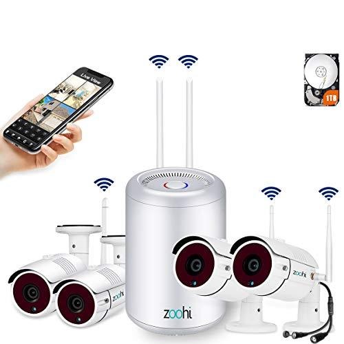 (2019 Newest) Security Camera System Wireless,Full HD 4CH 1080P Wireless Video Security System with 1TB HDD,4pcs 2.0MP Indoor Outdoor Wireless Cameras,75ft Night Vision,Easy Remote View by Zoohi